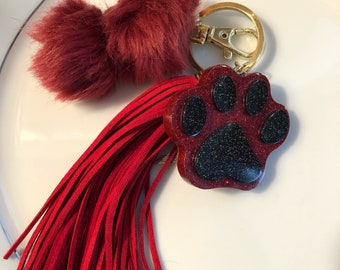 Pawprint Resin Keychain Purse Charm