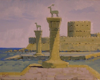 Where the Colossus Stood at Rhodes, 12''x9'' Oil