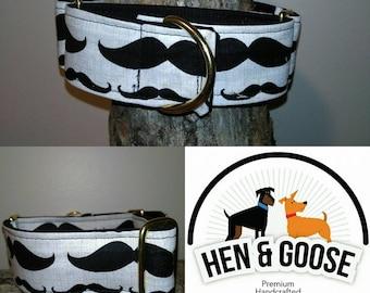 "Handsome ""Moustachio"" Martingale Dog Collar"