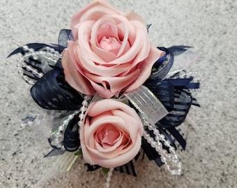 Navy, Pink and White Silk Flower Wrist Corsage