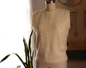 vintage 60s cream shell sweater . 1960s beaded & sequin sweater, angora and lambswool, made in Hong Kong First Lady, womens size small