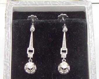 Antique Edwardian Platinum Diamond Dangle Earrings