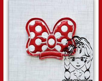 BOW DoT Ms Mouse Center (Add On Only ~ 1 Piece) ITH Mr Miss Mouse Ears Headband ~ INSTANT Machine Embroidery Download Design by Carrie