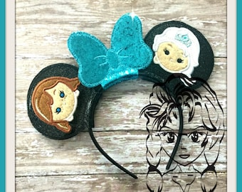 ICE QuEEN PrinCESS GaME Inspired (4 Piece) Mr Miss Mouse Ears Headband ~ In the Hoop ~ Downloadable DiGiTaL Machine Emb Design by Carrie