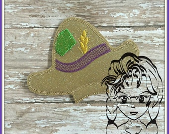 STRAW HAT Center (Add On ~ 1 Pc) Mr Miss Mouse Ears Headband ~ In the Hoop ~ Downloadable DiGiTaL Machine Embroidery Design by Carrie