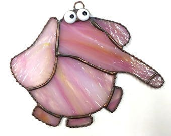 Stained Glass Pink Elephant