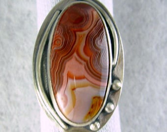 Laguna lace banded agate designer cabachon  in colors of spice 925 sterling silver ring by silversmith Chelle' Rawlsky OOAK sz 6+