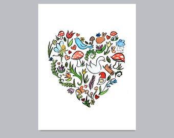 Woodland Heart Print