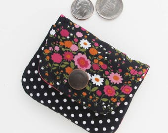 Coin Purse   Black floral fabric mini pouch to use as change purse, or storage for jewelry or earbuds or small cords or other items.