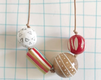 Chunky Bead Statement Necklace, red, rainbow, triangles, wood