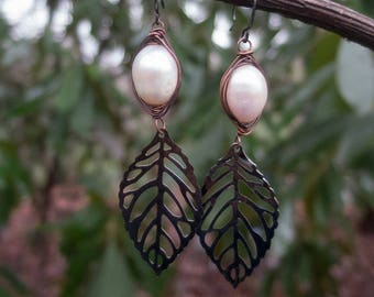 Wire-wrapped Freshwater Pearl Earrings || Gunmetal Leaves | Hippie Chick | Flower Child | Bride | Woodland Wedding l Earrings Under 25