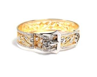 Art Deco Filigree Buckle Bracelet PS Co Symbol of Love Loyalty and Strength Two Toned Silver and Gold Bangle PSCO Circa 1930