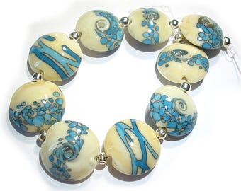 Handmade Glass  Lampwork  Beads  Turquoise and Ivory Lentils