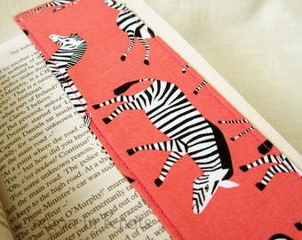 Zebra Bookmark - Striped African Animal Fabric Book Accessory, Sewn Page Marker Back to School Gift for Reader, Book Lover, bright coral