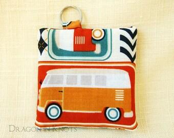 Retro Caravan Earbud Holder - brightly colored camper bus guitar pick case, minibus wagon, hippie van fabric keychain pocket, 1960s