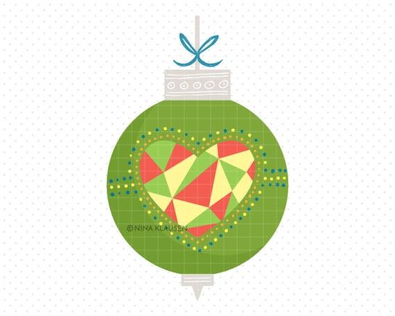 Green Christmas Bauble Clip-Art / Heart Christmas Ball Artwork / C0007