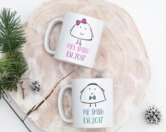set of 2 mugs, mr and mrs, just married gift,wedding gift,anniversary gift,personalised mug, funny mug, husband mug,wife mug,uk, cup set
