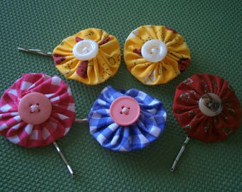 Sale Set of 5 YoYo Bobby Pins, Mixed Fabric Colors Bobbi Pins, Hair Accessories, Willow Glass