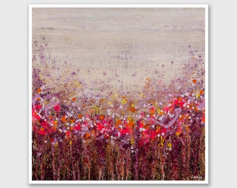 """Abstract PRINT of Painting """"Rainbow Jam"""" by Lisa Carney - Floral Abstract, Large wall art, Giclee Print, Modern painting, Pink, Maroon, Gray"""