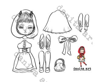 Little red riding hood cut-out paper doll printable template by Danita (Digital Download)