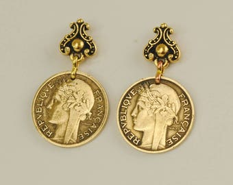 French Coin Earrings 1932 & 1933