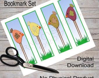 Book Mark Instant Download, Digital Printable Bookmark, Cute Chicken Art Bookmark, Bookmark Gift for Readers, Little Girl Book Mark, Set 2