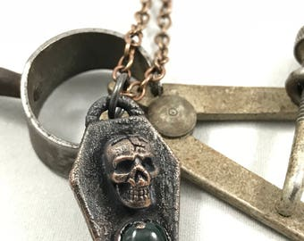 Memento - Tiny Copper Coffin With Green Onyx