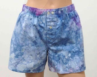 Boxer Shorts US Size S 30-31 GAP Hand Dyed Small Mens Underwear Underpants Skivvies Fun Colorful Playful Novelty Light Sky Blue Purple White