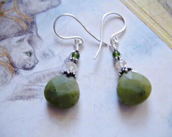 Jade Earrings, Faceted Green Earrings, Drop Earrings, Green Jade Earrings, Silver Earrings, Dangle Earrings, Boho Earrings, Gemstone Earring