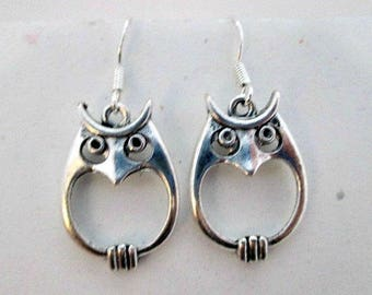 Chubby Owl Charm Pierced Earrings on 925 Silver Wires - Owl Charm Dangle Earrings Jewelry Gift