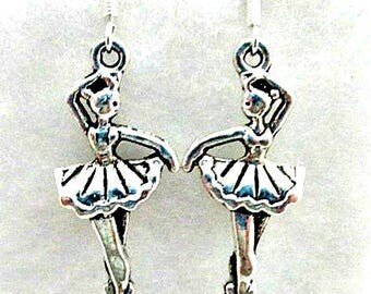 Ballerina Pierced Earrings on 925 Silver Wires - Ballet Dance Earrings, Ballerina Ballet Jewelry Gift, Ballerina Charms, New Dangle Earrings