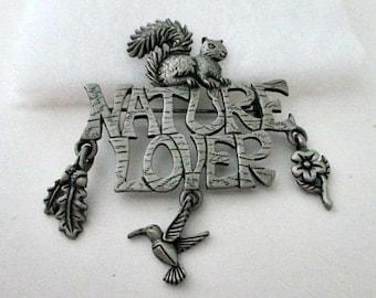 Nature Lover Brooch Pin - Signed JJ Jonette Vintage Pin - JJ Jewelry - Squirrel Hummingbird Leaf Charms
