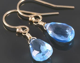 Swiss Blue Topaz Earrings. Gold Filled Ear Wires. Genuine Gemstone. December Birthstone. s17e083