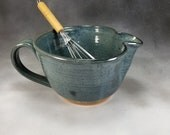 Batter Bowl Medium Pottery Batter Bowl Blue Batter Bowl With Whisk Hand Thrown Stoneware Pottery Mixing Bowl 6