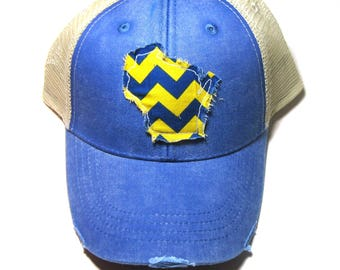 Distressed Snapback Trucker Hat - Royal Blue and Yellow Wisconsin Hat