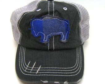 Clearance - Sale - Gift - Gracie Designs Hat - Buffalo Bison Applique on Gray Distressed Trucker hat