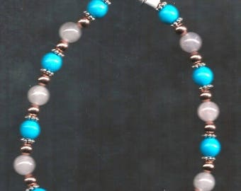 ON SALE Turquoise and Rose Quartz Bracelet