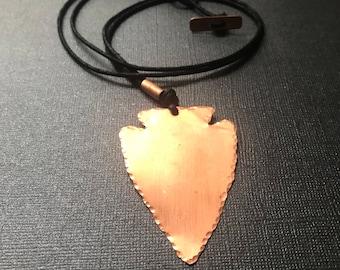 Copper Arrowhead Cord Necklace