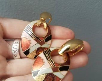 Vintage Enamel and Gold Tone Dangle Earrings