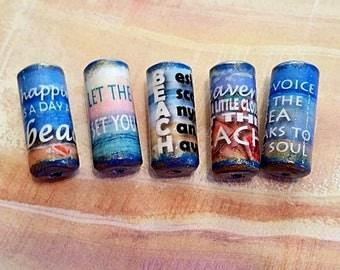 Sea - Beach Beads -  Handmade Paper Tube Beads - Beach Sayings - Set/5 -  PB105