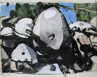 Rocks of Rehoboth, Original Landscape Collage Painting on Paper, Stooshinoff
