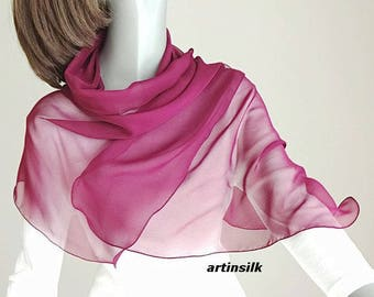 "Wine Dark Pink Scarf Fuchsia Coverup, Fandango Burgundy Pink, Small Shoulder Wrap, Pure Silk petite 20x43"", Artinsilk"