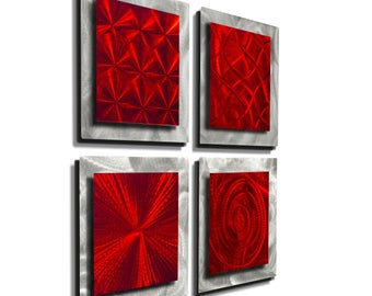Red & Silver Modern Metal Wall Art, Contemporary Accent, Abstract Wall Decor, Gifts For Him, Presents for Her - 4 Squares Red by Jon Allen