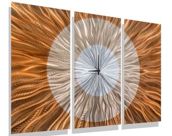 Copper & Silver Abstract Metal Wall Clock - Modern Functional Art - Contemporary Timepiece - Afterglow by Jon Allen