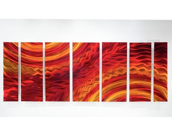 Red, Gold & Orange Modern Metal Wall Art Sculpture, Abstract Wall Painting, Contemporary Decor, Metal Wall Hanging - OOAK 857 by Jon Allen