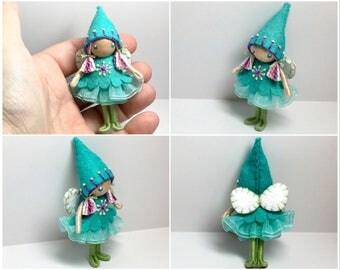 Fairy Bendy Doll by Princess Nimble-Thimble, Waldorf Felt Bendable DollHouse Doll- Small Felt Doll, Flower Fairy,  Nature Table Decor