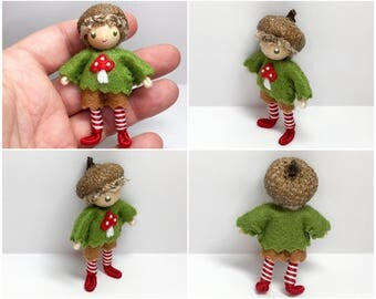 Acorn Bendy Doll- Waldorf Felt Doll- Woodland- Nature Table Doll- Small Miniature Bendy Doll- Felt Bendable Doll- Boy doll