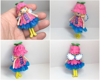 Fairy Bendy Doll by Princess Nimble-Thimble, Waldorf Felt Bendable DollHouse Doll- Small Felt Doll, Flower Fairy,  Nature Table Decor