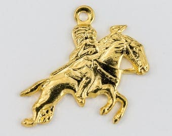 16mm Gold Galloping Horse with Rider Charm (2 Pcs) #160C