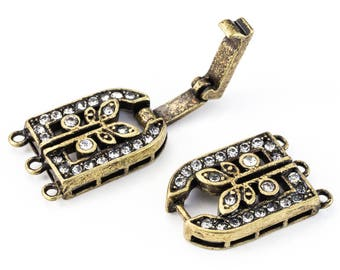 35.5mm x 11mm Antique Brass Pavé Crystal 3 Loop Buckle Clasp #CLD172